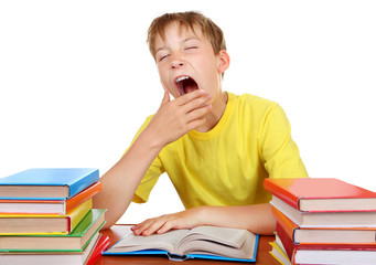 Tired Schoolboy yawning