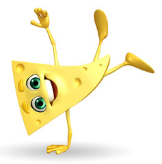 Cheese Character with hand standing pose