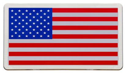 drapeau des États-Unis sur panneau de signalisation