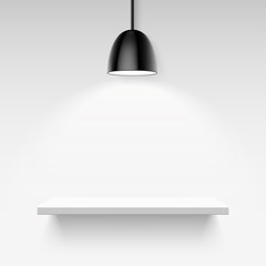 Black ceiling lamp and empty white shelf on a light gray