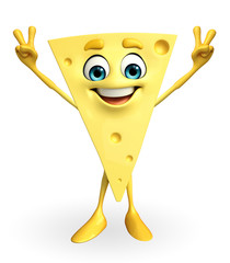 Cheese Character with victory sign