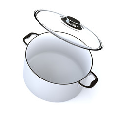 Saucepan with open up glass cover