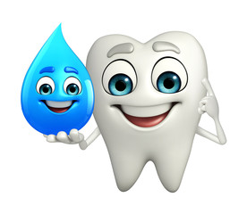 Teeth character with water drope
