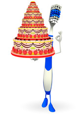 Toothbrush Character with cake