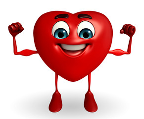 Heart Shape character with bodybuilding pose