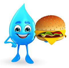 Water Drop Character with burger