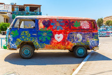 Hippie-Bus from the Hippie Festival in Matala, Greece.