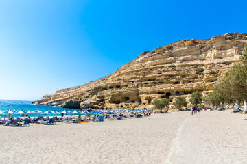 Pebbly beach Matala, Greece Crete.