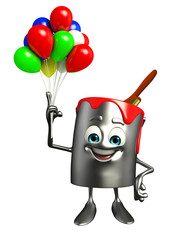 Paint Bucket Character with Balloon
