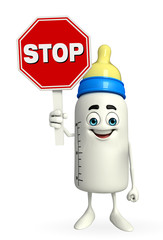 Baby Bottle character with stop sign