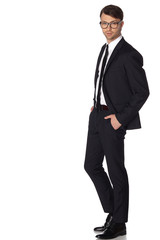 Business man in black suite on white background