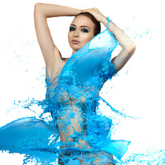Sensual woman and big paint waves. Blue splash