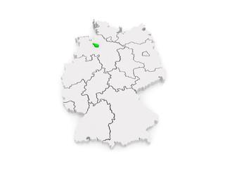 Map of Bremen. Germany.