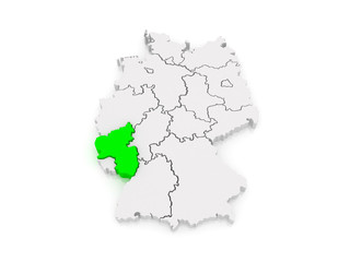 Map of Rheinland-Pfalz. Germany.