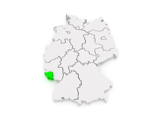 Map of Saarland. Germany.