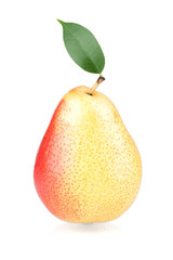 Ripe pear with green leaf