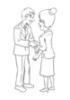 Cartoon of a businessman and businesswoman shaking hands