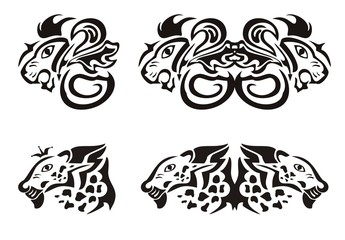Lion and leopard heads in tribal style