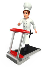 Young chef with walking machine