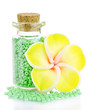 Little bottle full with colorful beads isolated on white