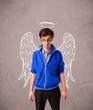 Young man with angel illustrated wings