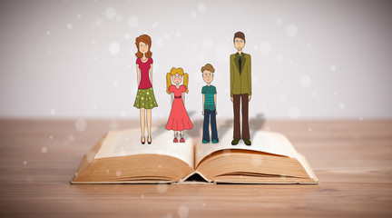 Drawing of a happy family on opened book