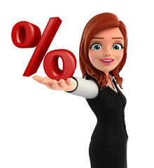 Young Business Woman with percent sign