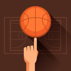 Sports illustration of hand spinning basketball ball.