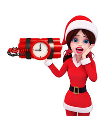 Santa Girl Character with time bomb