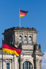 Reichstag in Berlin, Flags, Germany