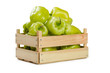 canvas print picture - Bulgarian pepper in a wooden box