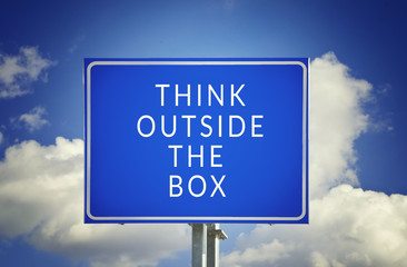 Road sign to thinking outside the box great brilliant idea new i