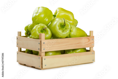 canvas print picture Bulgarian pepper in a wooden box