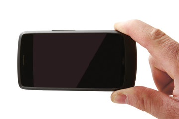 Hand holding mobile smart phone with blank screen. Isolated on