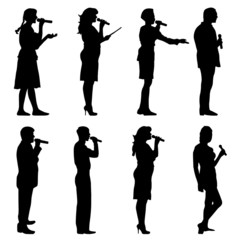 Black silhouettes of  mans and womans singing karaoke on white b