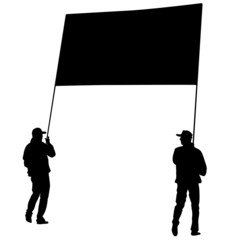 Black silhouettes of men carrying a banner on a white background
