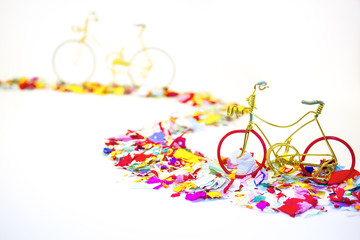 bicycles on confeti road
