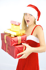 Female santa claus scared of falling gifts