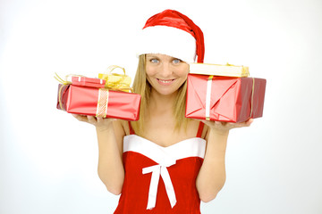Happy female Santa Claus with gift for Christmas