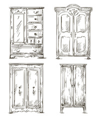 set of hand drawn wardrobes. Vector illustration.