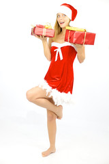 Happy smiling female santa claus isolated