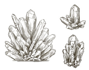 set of crystals drawings. Vector illustration.