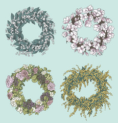 wreaths drawings. Flowers decoration. Floral design. Vector.