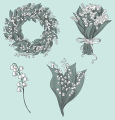 lily of the valley drawings. vector illustration.