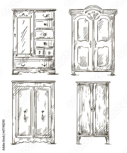set of hand drawn wardrobes. Vector illustration. - 67748290
