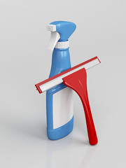 Squeegee and spray bottle