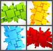 Set of backgrounds with 3d squares