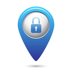 Map pointer with close lock icon
