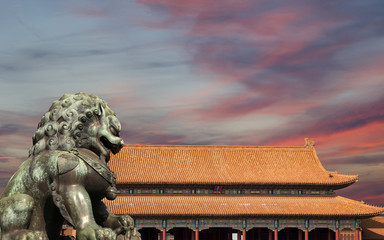 Bronze Guardian Lion Statue in the Forbidden City, Beijing