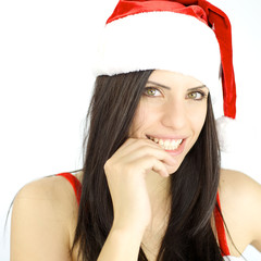 Happy female Santa Claus smiling ready for Christmas